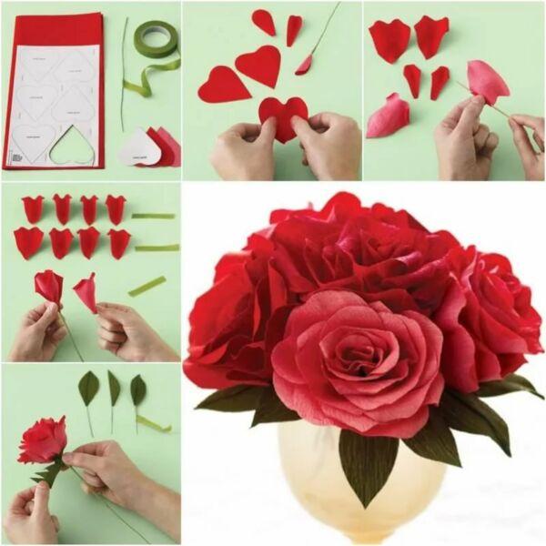 Розы из гофрированной бумаги своими руками: пошаговые инструкции для начинающих этап 50