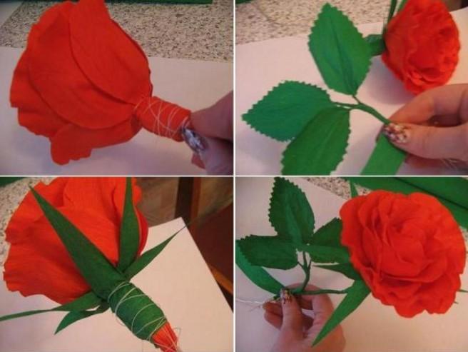 Розы из гофрированной бумаги своими руками: пошаговые инструкции для начинающих этап 44