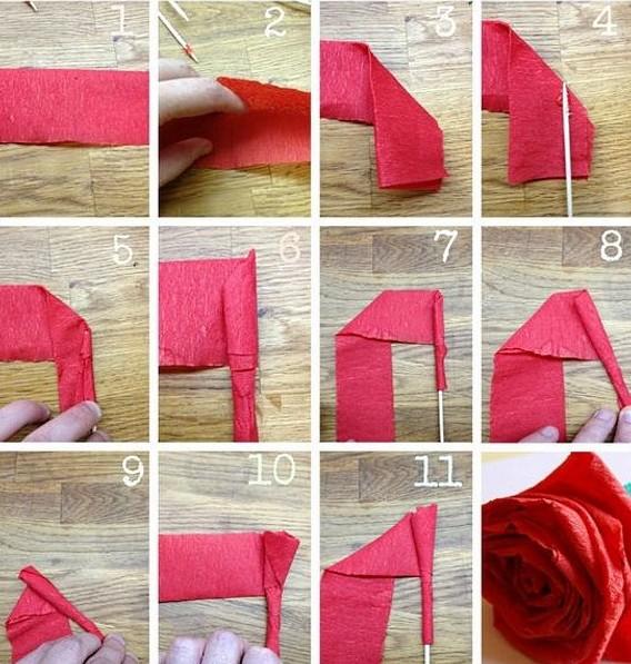 Розы из гофрированной бумаги своими руками: пошаговые инструкции для начинающих этап 45