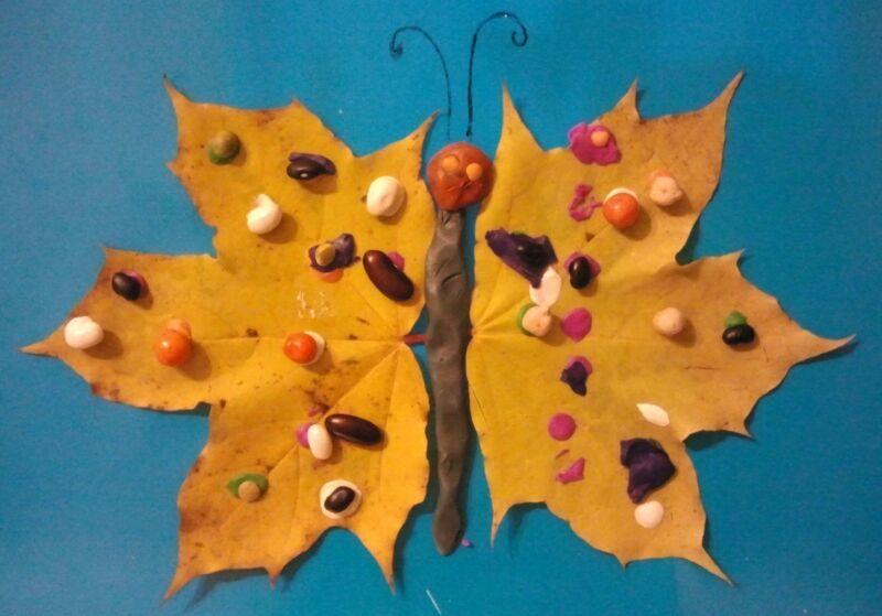 Осенние поделки из листьев своими руками (все новинки для детей детского сада и школы) этап 21