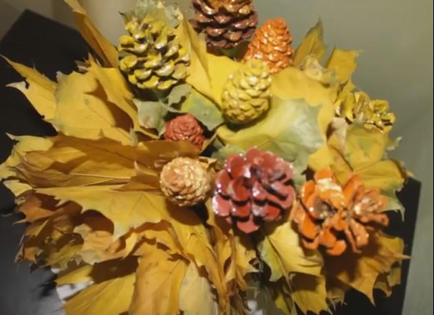 Осенние поделки из листьев своими руками (все новинки для детей детского сада и школы) этап 60