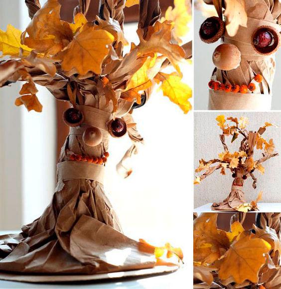 Осенние поделки из листьев своими руками (все новинки для детей детского сада и школы) этап 22