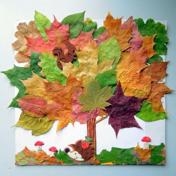 Осенние поделки из листьев своими руками (все новинки для детей детского сада и школы) этап 18