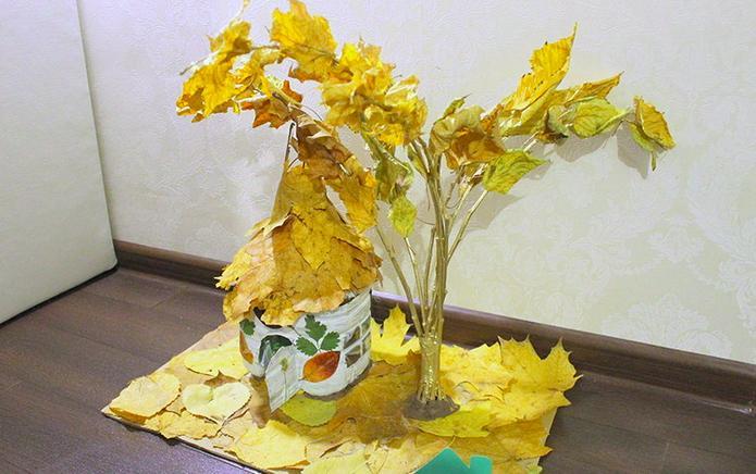 Осенние поделки из листьев своими руками (все новинки для детей детского сада и школы) этап 70