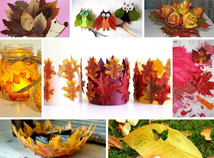 Осенние поделки из листьев своими руками (все новинки для детей детского сада и школы) этап 61