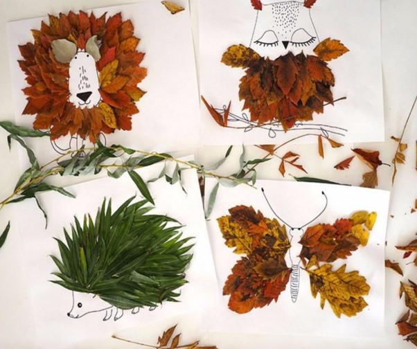Осенние поделки из листьев своими руками (все новинки для детей детского сада и школы) этап 62
