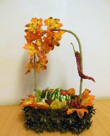Осенние поделки из листьев своими руками (все новинки для детей детского сада и школы) этап 11