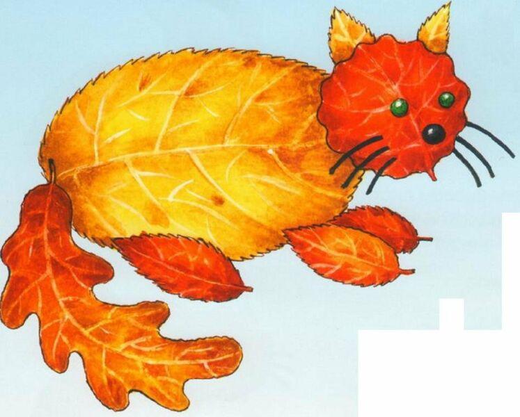 Осенние поделки из листьев своими руками (все новинки для детей детского сада и школы) этап 17