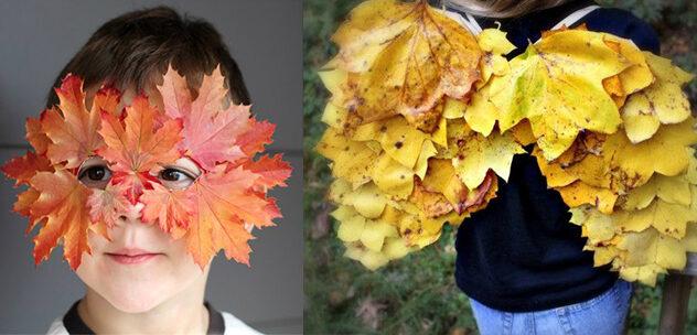 Осенние поделки из листьев своими руками (все новинки для детей детского сада и школы) этап 28