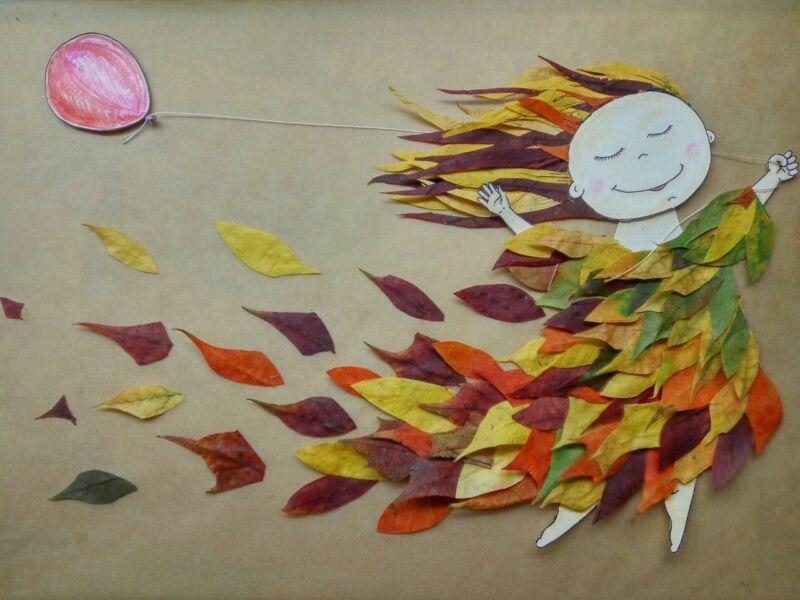 Осенние поделки из листьев своими руками (все новинки для детей детского сада и школы) этап 10