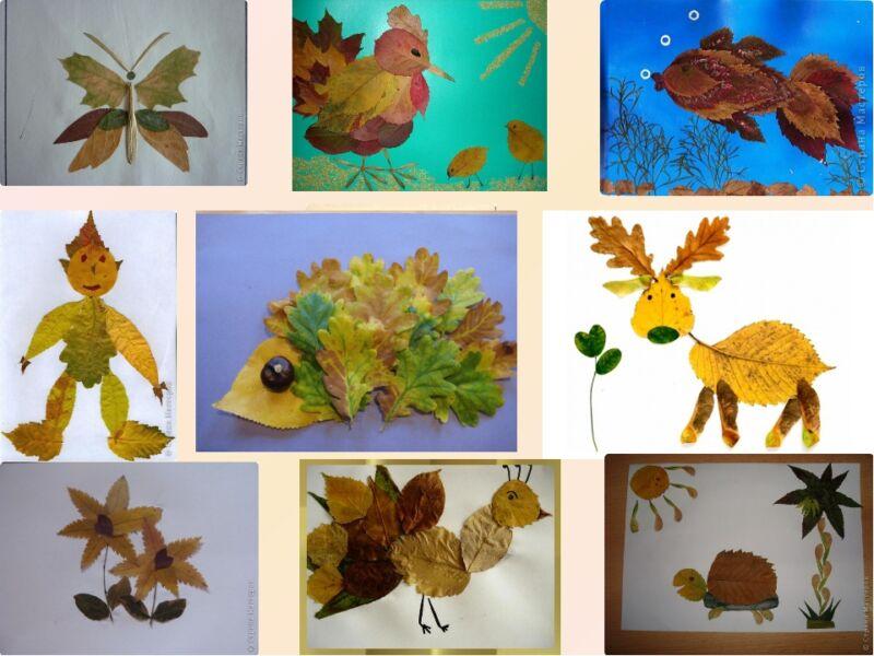 Осенние поделки из листьев своими руками (все новинки для детей детского сада и школы) этап 15