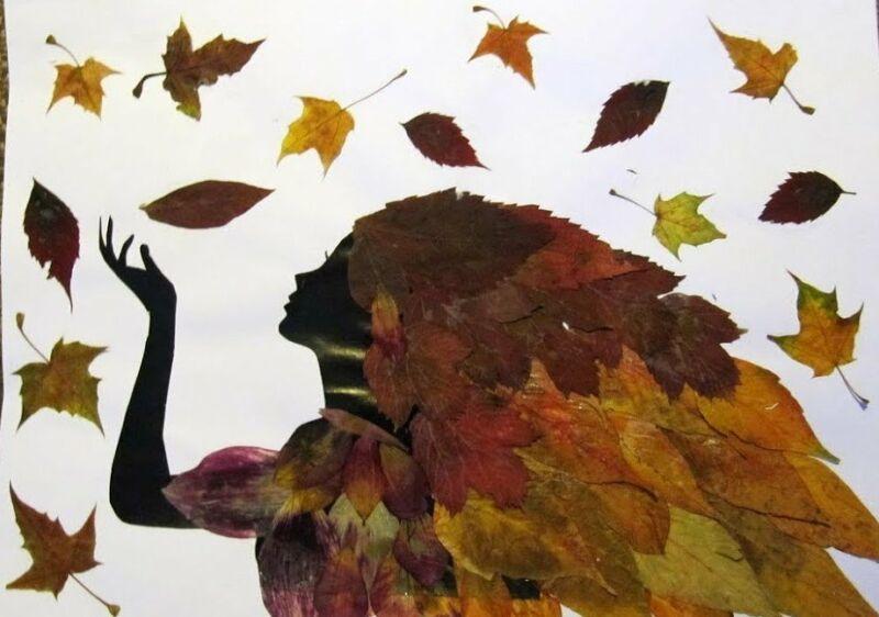 Осенние поделки из листьев своими руками (все новинки для детей детского сада и школы) этап 8