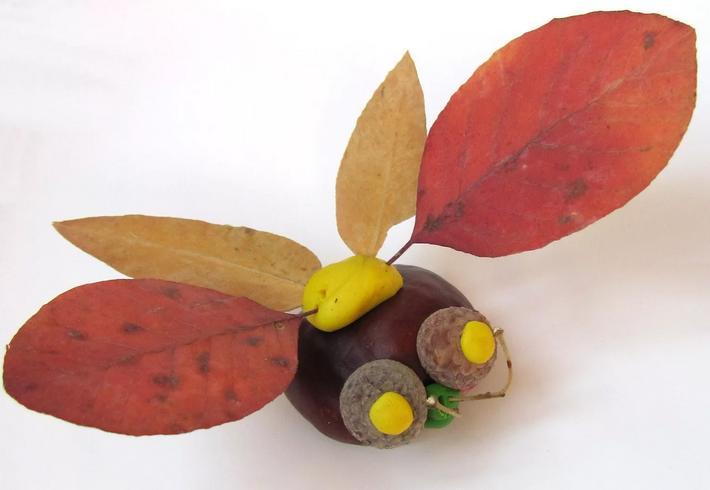 Осенние поделки из листьев своими руками (все новинки для детей детского сада и школы) этап 40