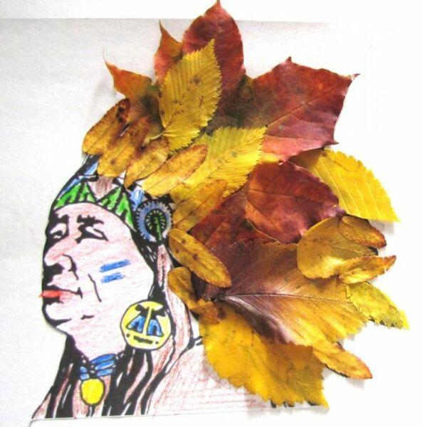 Осенние поделки из листьев своими руками (все новинки для детей детского сада и школы) этап 9