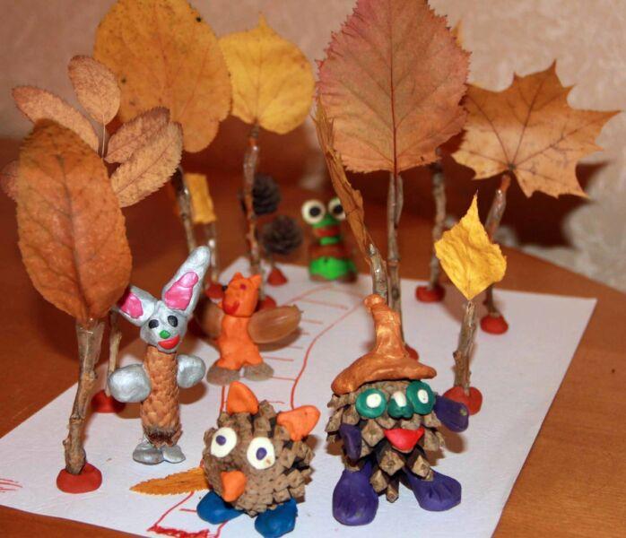 Осенние поделки из листьев своими руками (все новинки для детей детского сада и школы) этап 34