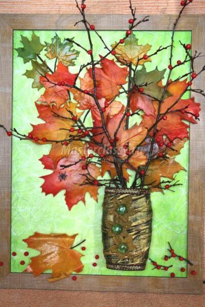 Осенние поделки из листьев своими руками (все новинки для детей детского сада и школы) этап 58
