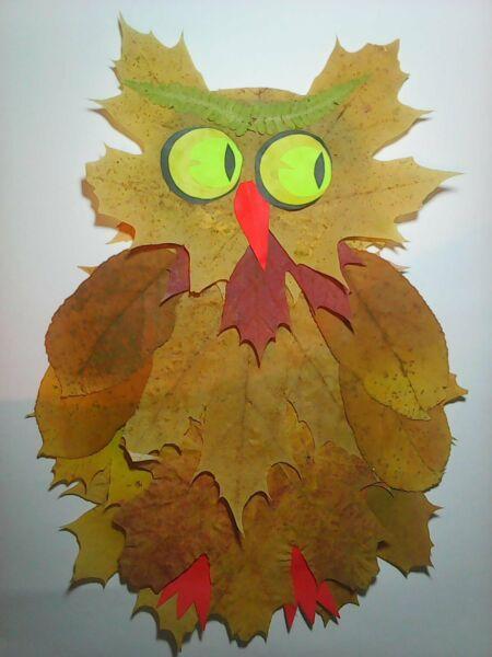 Осенние поделки из листьев своими руками (все новинки для детей детского сада и школы) этап 19