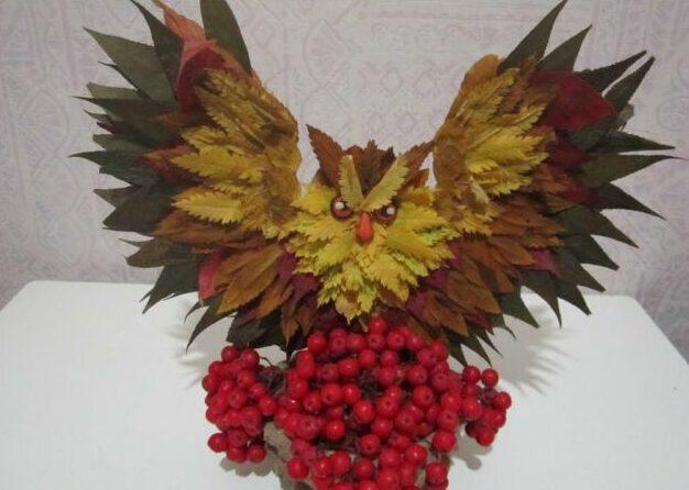 Осенние поделки из листьев своими руками (все новинки для детей детского сада и школы) этап 14