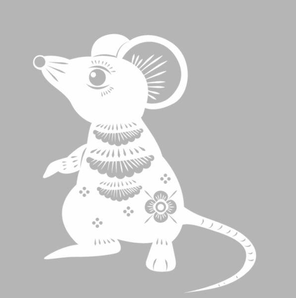 Трафареты крысы или мыши на окна к Новому году 2020 для вырезания из бумаги этап 49