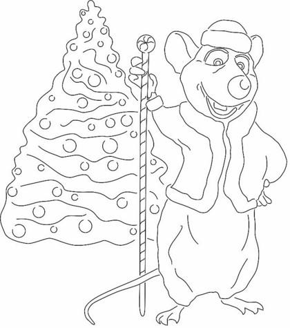Трафареты крысы или мыши на окна к Новому году 2020 для вырезания из бумаги этап 47