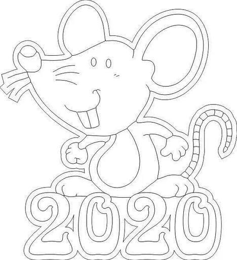 Трафареты крысы или мыши на окна к Новому году 2020 для вырезания из бумаги этап 13