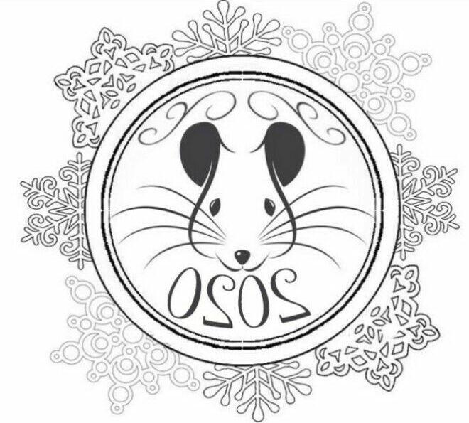 Трафареты крысы или мыши на окна к Новому году 2020 для вырезания из бумаги этап 21