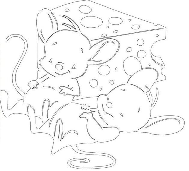 Трафареты крысы или мыши на окна к Новому году 2020 для вырезания из бумаги этап 23