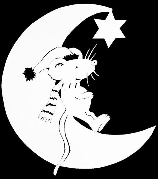 Трафареты крысы или мыши на окна к Новому году 2020 для вырезания из бумаги этап 14