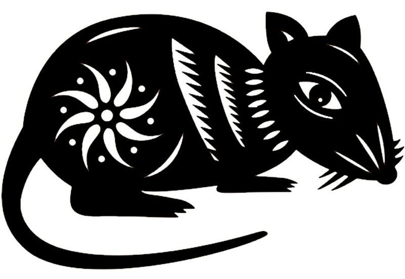 Трафареты крысы или мыши на окна к Новому году 2020 для вырезания из бумаги этап 12