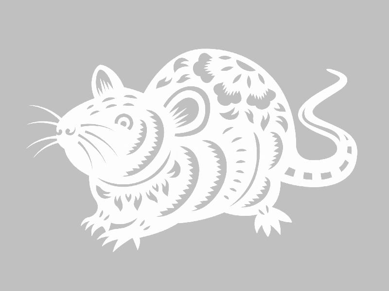Трафареты крысы или мыши на окна к Новому году 2020 для вырезания из бумаги этап 4