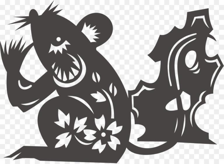 Трафареты крысы или мыши на окна к Новому году 2020 для вырезания из бумаги этап 5