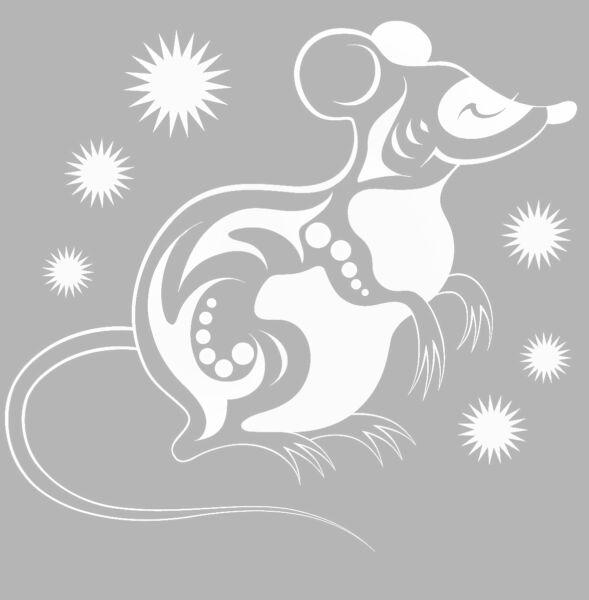 Трафареты крысы или мыши на окна к Новому году 2020 для вырезания из бумаги этап 6