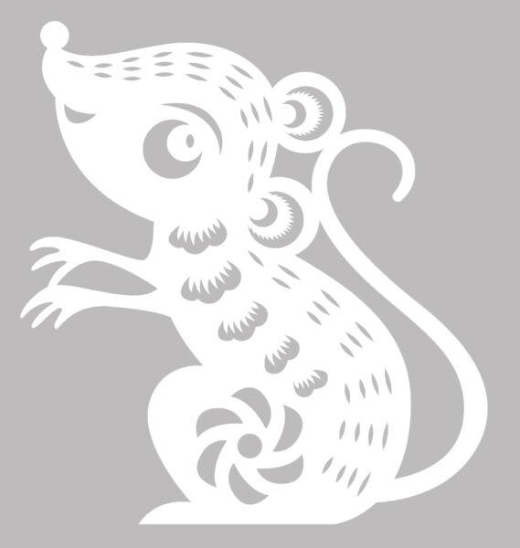 Трафареты крысы или мыши на окна к Новому году 2020 для вырезания из бумаги этап 8