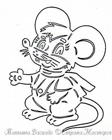 Трафареты крысы или мыши на окна к Новому году 2020 для вырезания из бумаги этап 27