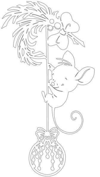 Трафареты крысы или мыши на окна к Новому году 2020 для вырезания из бумаги этап 29
