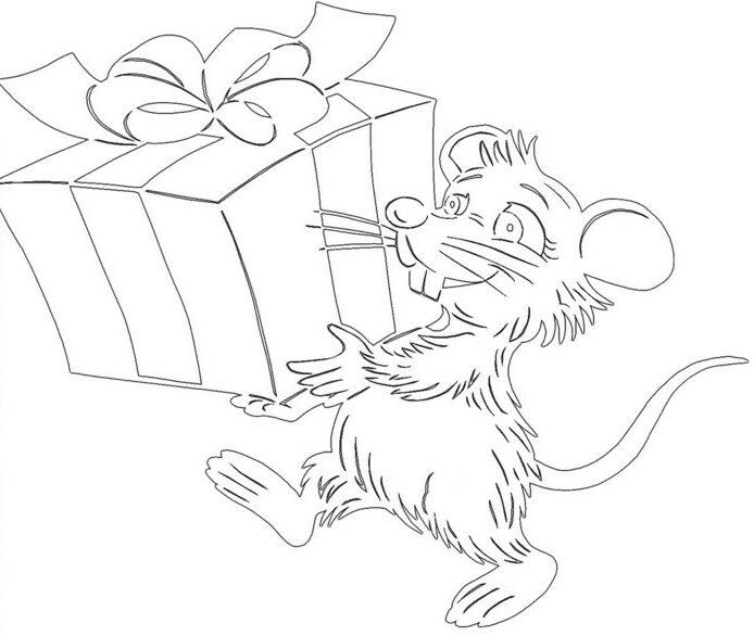 Трафареты крысы или мыши на окна к Новому году 2020 для вырезания из бумаги этап 30