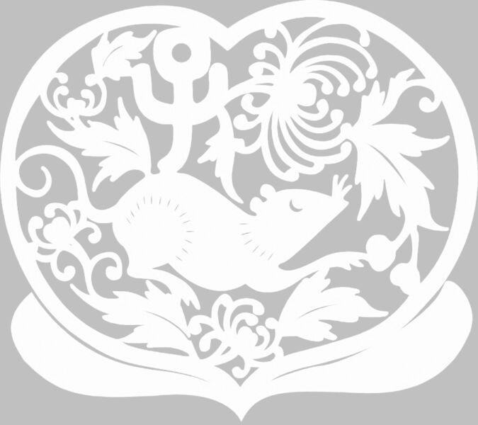 Трафареты крысы или мыши на окна к Новому году 2020 для вырезания из бумаги этап 33