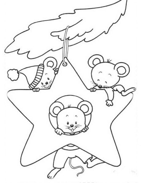 Трафареты крысы или мыши на окна к Новому году 2020 для вырезания из бумаги этап 26