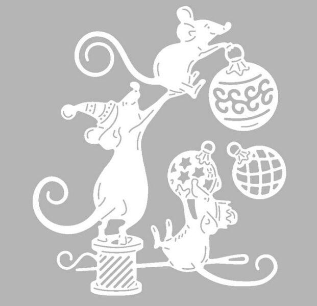 Трафареты крысы или мыши на окна к Новому году 2020 для вырезания из бумаги этап 50
