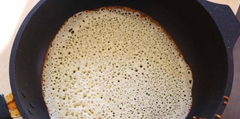 Блины на молоке и кефире. Рецепты тонких блинов с дырочками этап 21