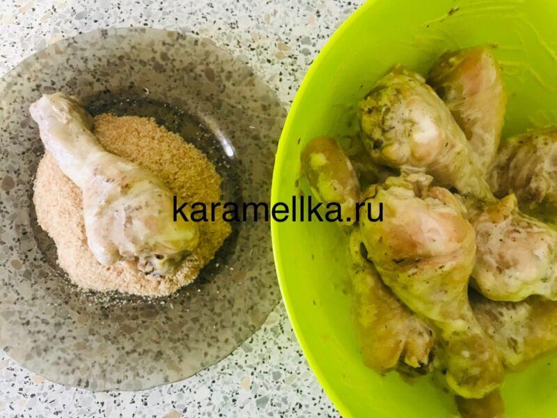 Как пожарить куриные ножки на сковороде? Рецепт куриных ножек с майонезом в хрустящей панировке этап 9
