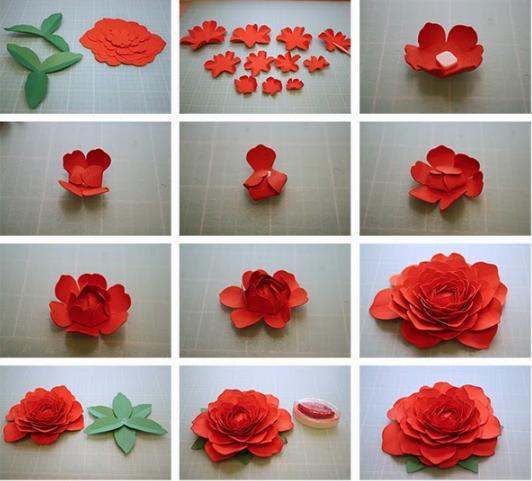 Цветы из бумаги — схемы и шаблоны для создания бумажных цветов этап 10