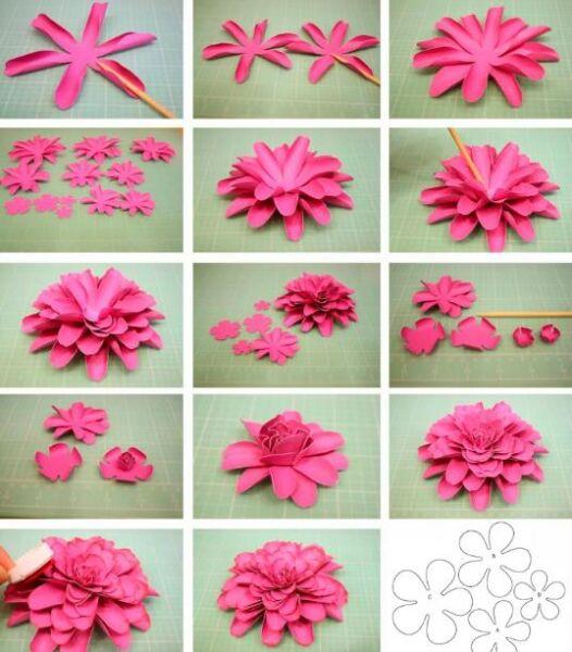 Цветы из бумаги — схемы и шаблоны для создания бумажных цветов этап 11