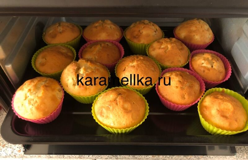 Кексы с бананом в силиконовых формочках (простой рецепт) этап 19