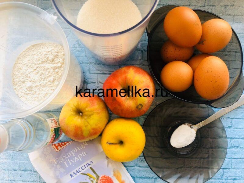 Пышная шарлотка с яблоками в духовке (классический рецепт) этап 2