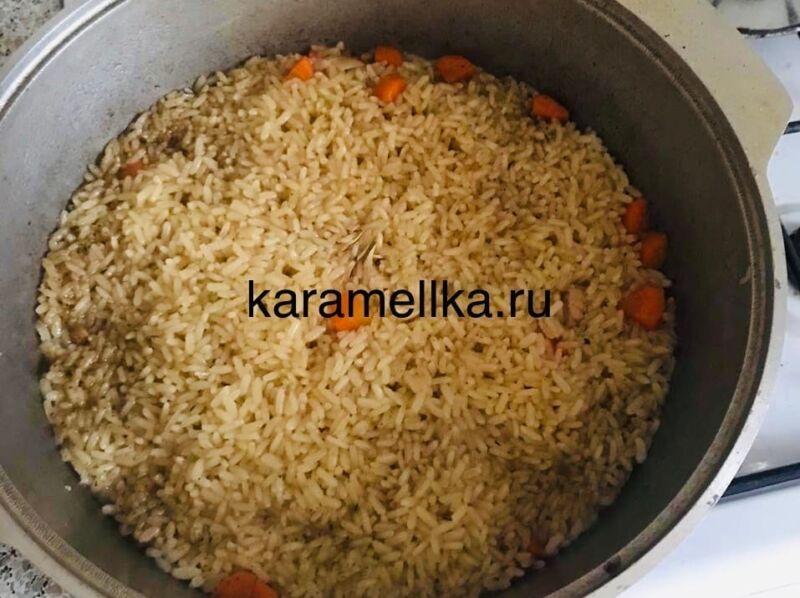 Как приготовить плов из свинины, чтобы рис был рассыпчатым этап 26