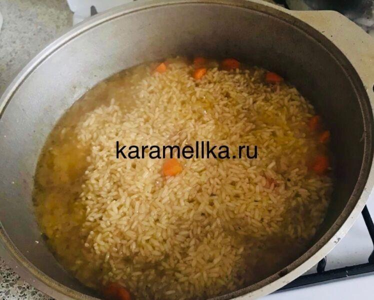 Как приготовить плов из свинины, чтобы рис был рассыпчатым этап 24