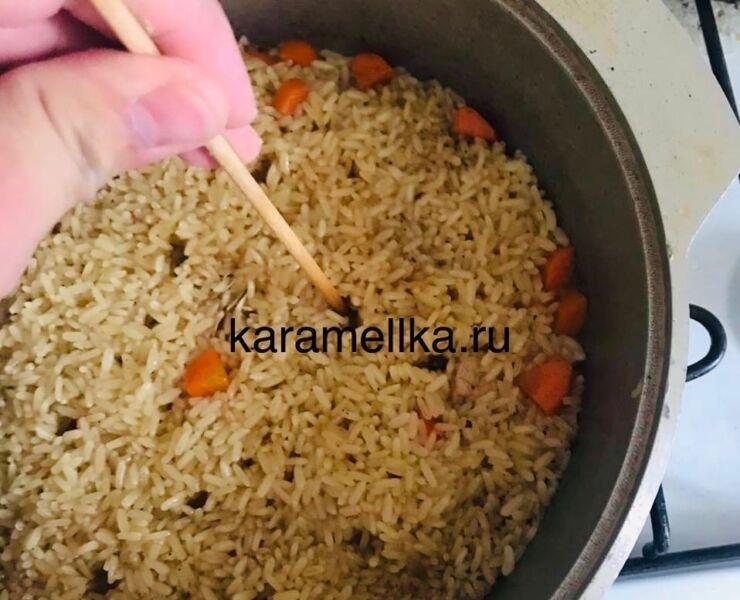 Как приготовить плов из свинины, чтобы рис был рассыпчатым этап 25