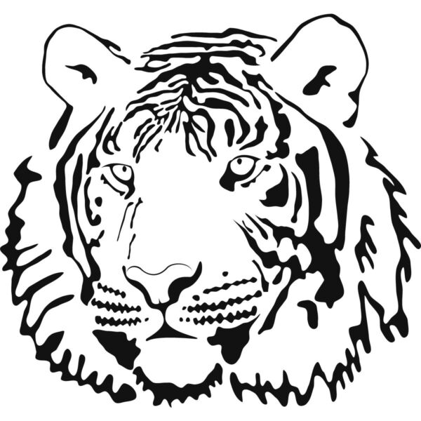 Трафареты тигра на окна для вырезания из бумаги на Новый год 2022 этап 5