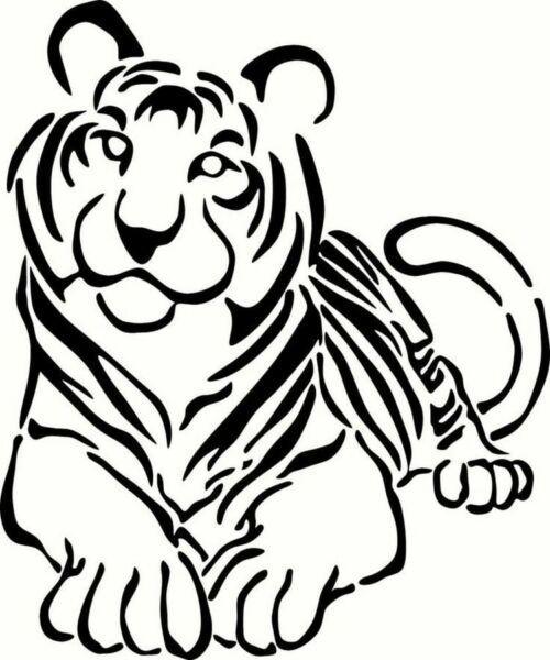 Трафареты тигра на окна для вырезания из бумаги на Новый год 2022 этап 10